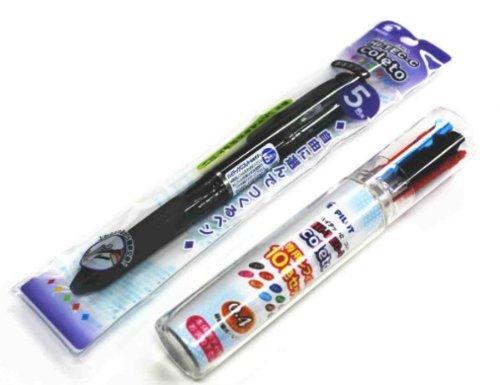 Pilot Hi-tec-c Coleto 5 Color Multi Pen Body Component - Clear Black Body & Multi Pen Ink Cartridge - 0.4 Mm - 10 Color starter set