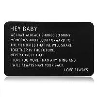 刻印入りメタル財布 インサートカード ブラック 記念日カード 彼氏 彼氏 夫へのギフト 妻 ガールフレンド 男性 バレンタイン クリスマス 誕生日 デプロイメント ウェディングギフト 婚約 I Love You Note Cool