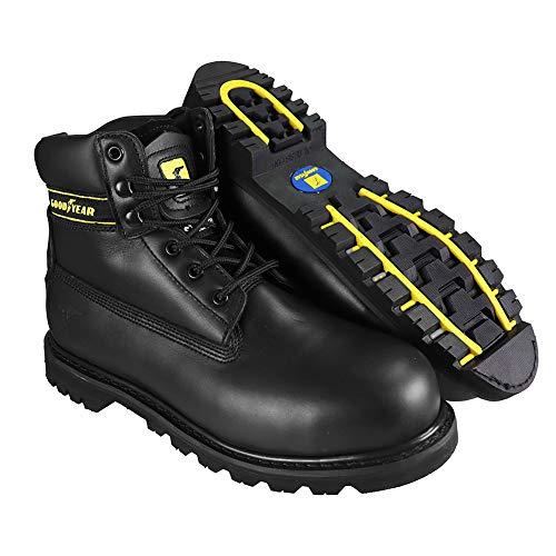 Goodyear Botas de seguridad de piel con corte medio, impermeables, para servilletas, UK 12/EU 46, Negro, 1