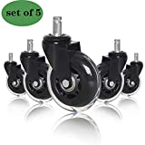 (Set of 5) Office Chair 3' Caster Wheels - Safe & Heavy Duty for All Floors Including Hardwood - Perfect Replacement for Desk Floor Mat - Rollerblade Style w/Universal Fit