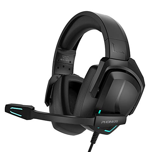 YOTMS Gaming Headset für PS4 PS5 PC Xbox One, H6 Wired 7.1 Stereo-Sound Gaming-Kopfhörer mit Mikrofon und LED-Licht, Cooles Computerzubehör für Nintendo-Switch Laptop Mac Schwarz
