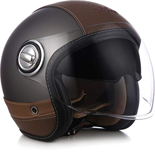 Soxon SP-888 Motorrad-Helm, ECE Sonnenvisier Leather-Design Schnellverschluss SlimShell Tasche, M (57-58cm), Flakes Schwarz