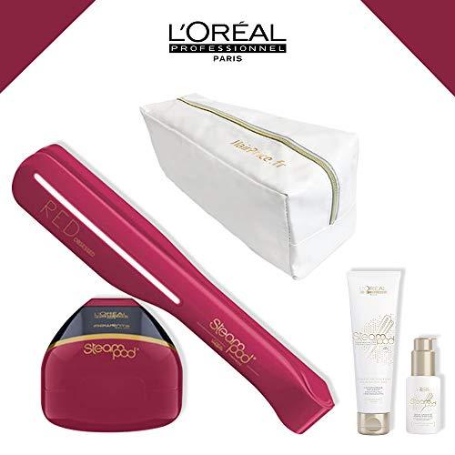 L 'Oreal–Pack Red Obsessed (edición limitada)–Neceser Glossy–Alisador de cabello vapor nueva generación + Sérum + leche de alisar cabello finos + neceser Glossy de almacenamiento