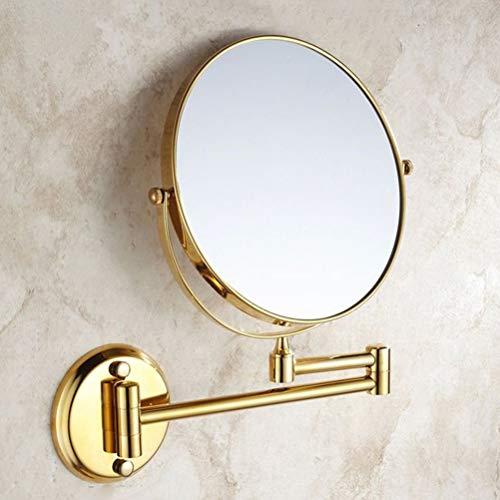 """8"""" Miroir de Maquillage Double Mur Rond Salle de Bains 3 X Miroir Grossissant en Laiton CosméTique Doré"""