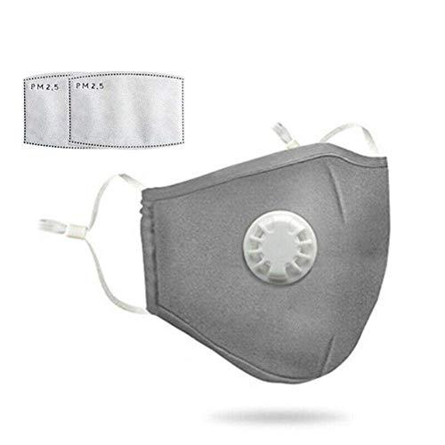 Staubmaske mit 2 Filtern Atemschutzmaske Mundmaske Gesichtsmasken Staub Anti-Verschmutzungs-Anti-Smog PM2.5 Waschbar Wiederverwendbar zum Reiten Staubdichte Kohlefilter Baumwolle