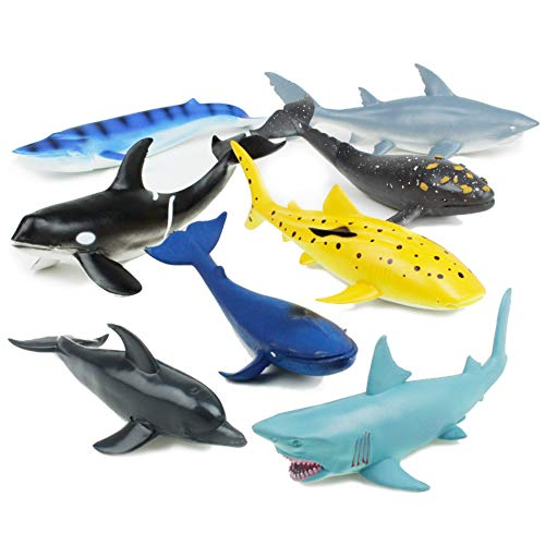 Boley Great Sea Creatures - 8 Pack 7-10  Long Soft Plastic Ocean Animals Toy Set - Shark  Whale  and Dolphin Animal Figurines - Sea Creature Toddler Sensory Toys and Party Favors for Kids