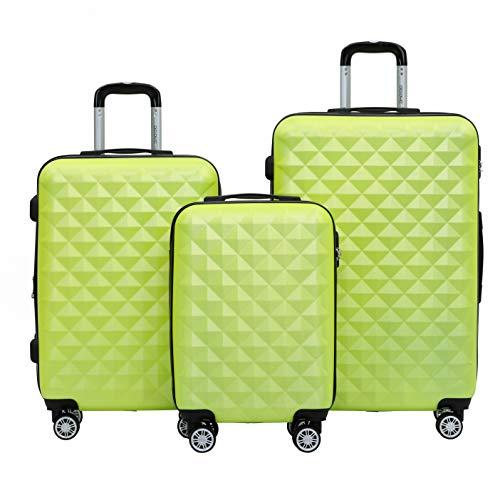 BEIBYE Kofferset 4 Zwillingsrollen Hartschale Trolley Koffer Reisekoffer Reisekofferset Gepäckset in 12 Farben (Grün)