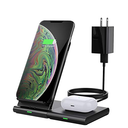 MoKo Wireless Charger Ladeständer + QC Netzteil, Qi Kabelloses Ladegerät Induktive Ladestation Kompatibel mit S20/S10/Galaxy Watch 3 41mm/45mm/42mm/46mm/Active 2/1/S3/Buds, iPhone 12/11/XR/Airpods Pro