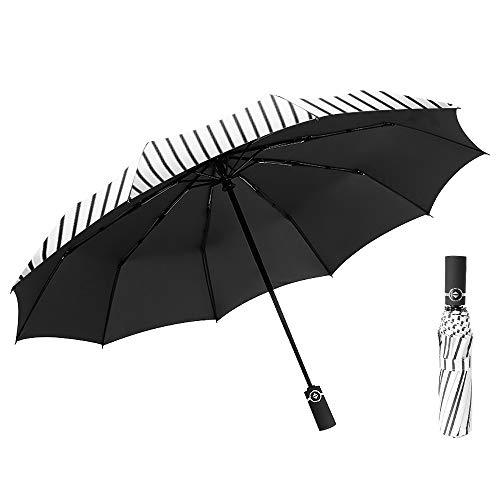 kabinga Viaje de Negocios Compacto y Plegable se Abre y Cierra automáticamente, Paraguas a Prueba de Viento, Lluvia y 99% Recubrimiento de protección UV Negro(3), Other, Middle