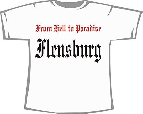 from hell to Paradise - Flensburg; Städte Damen T-Shirt weiß, Gr. S (36)