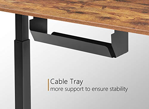 Product Image 3: FEZIBO Electric Height Adjustable Standing Desk with Drawer, 48 x 24 Inches Splice Board, Black Frame/Rustic Brown Top