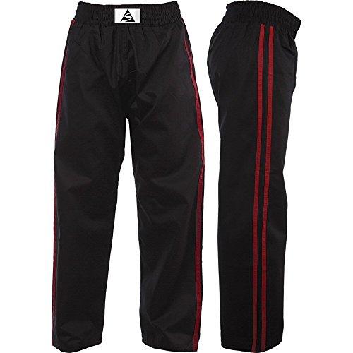 Spirit, Kickboxhose mit roten Streifen, Schwarz, 100% Baumwolle, SKKT, Schwarz , 120 cm