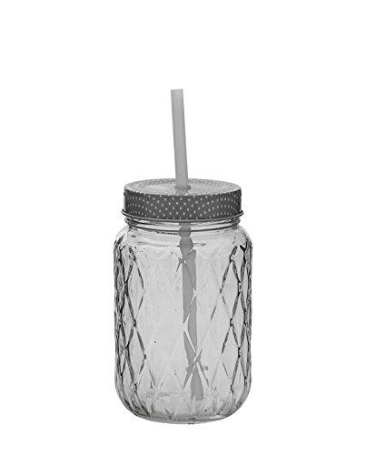 Bloomingville Glaskrug mit Deckel und Strohhalm