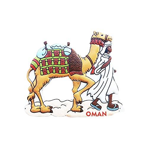 Omán 3D Camel Nevera Imán Regalo de Recuerdo, Hecho a Mano Decoración del Hogar y Cocina Omán Refrigerador Imán Colección