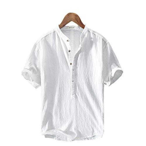 Camisa de Cuello Alto con Botones para Hombre, Color sólido, cómoda, Transpirable, Informal, Simple, Todo fósforo X-Large