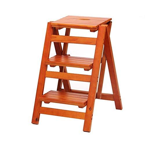 Escabeau 3 étapes Ladder Tabouret Multifonction Accueil Escalade Chaise Pliante en Bois Escabeau Fleur d'intérieur Support de Rangement étagère QIQIDEDIAN