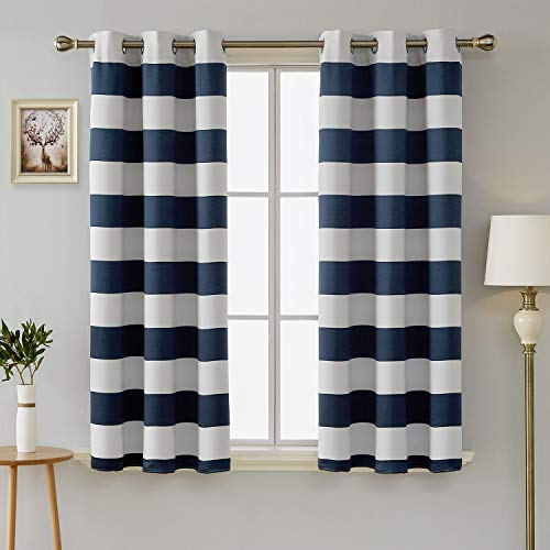 Deconovo Navy Blue Sun Blocking Curtains Grommet Room Darkening Drapes Navy and Greyish White Pattern Short Curtains for Small Windows 42W X 45L Navy Blue