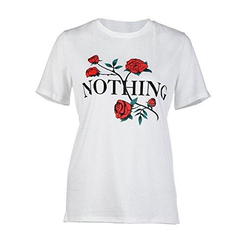 TWIFER Sommer Damen Tops Nichts Rose Druck Sommer Lose Tops Kurzarm Bluse T Shirt