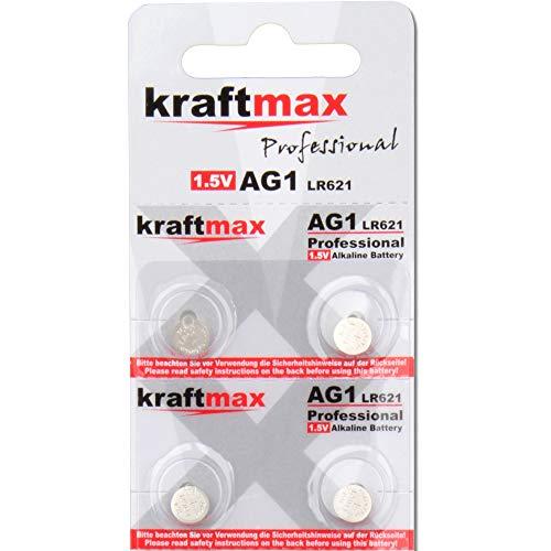 kraftmax 4er Pack Knopfzelle Typ 364 (AG1 / LR621 / LR60) Hochleistungs- Batterie / 1,5V Uhrenbatterie für professionelle Anwendungen - Neuste Generation