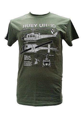 Huey UH - 1D Hubschrauber Vietnam Krieg Militär-T-Shirt blueprint design (XXXL)