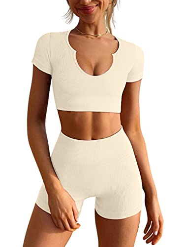 LNSK Women's Workout Outfits Seamless Ribbed Running Yoga Two Piece Crop Top Gym High Waist Sport Shorts Sets Beige