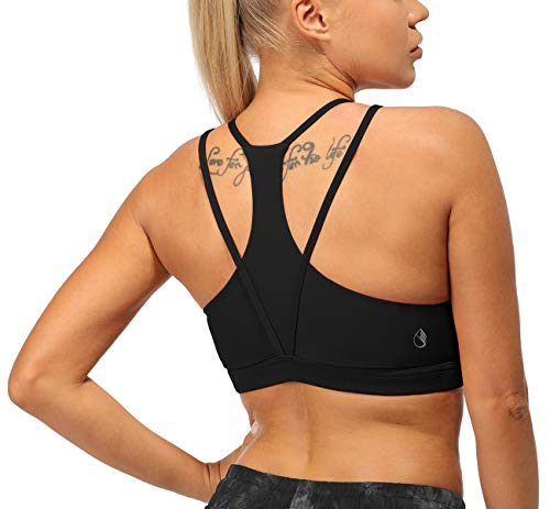 icyzone Strappy Sports Bra for Women - Racerback Yoga Bra Padded Workout Running Tops (Black, Small)