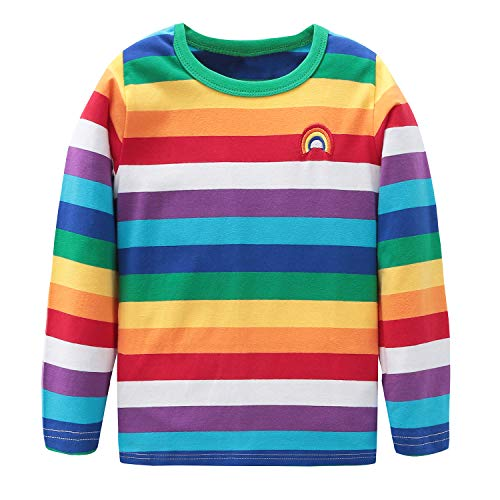 HowJoJo Boys Girls Cotton Long Sleeve T-Shirts Kids Rainbow Striped Shirts 5T