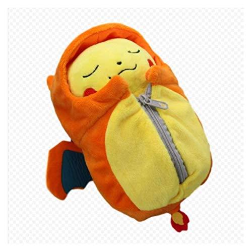 Weiche Spielzeug Pokemon Plüschtier 30cm, niedliches geschlossenes Auge Pikachu Feuer-atmender Drache Schlafsack Plüschtier, gelber Schlafsack Puppe, das Beste für Kinder, Freundin Überraschungen, Hal