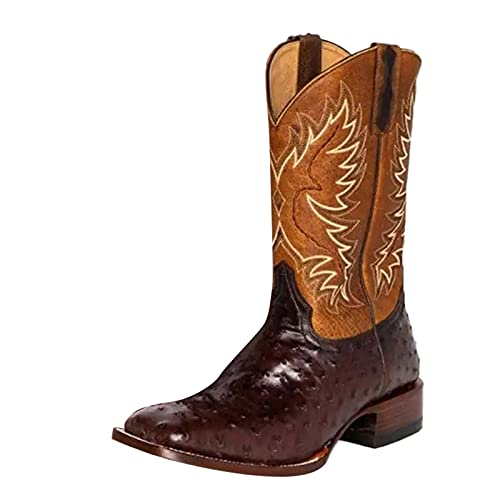 Fullwei Cowboy Boots for Women,Women Vintage Round Toe Low-Heeled Wide Calf Booties Embroidered Slip On Western Cowgirl Casual Boot Walking Shoe (Coffee, 7.5)