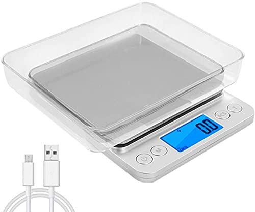 oFami Balance de Précision, 3000g/0.1g, Mini Balance de Cuisine Électronique, Balance de Poche, Écran LCD Rétroéclairé, avec Fonction Tare et Compte, 2 Pallets, Chargement USB