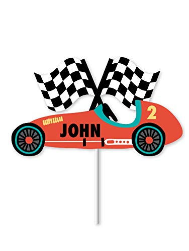 Vintage Race Car - Custom Name Cake Topper   Race Car Birthday Party Decorations   Race Car Cupcake Topper   Personalized Name Cake Topper   Race Car Themed Party