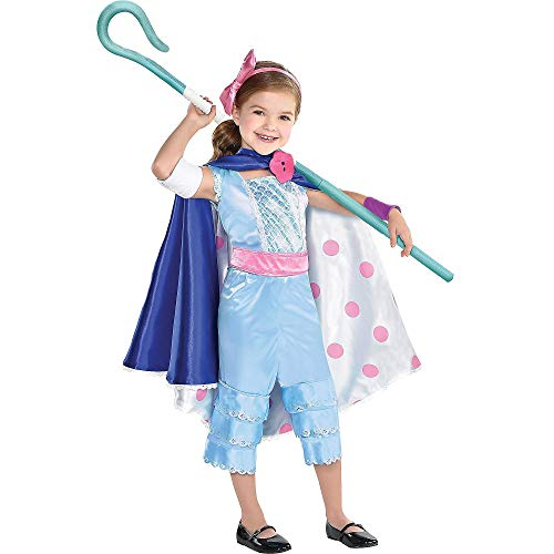 Party City Toy Story 4 Bo Peep Costume for Girls, Small (4-6), Includes Jumpsuit, Skirt/Cape, Staff and More