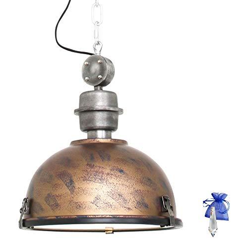 Hängeleuchte Brüniert d. 32cm im Vintage Fabrik-Lampen Industrial Design E27 Retro Industrie-Leuchte Pendelleuchte Küchenlampe LED geeignet 7978B + Giveaway