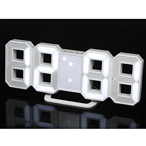 Alician Home Moderne Digitale LED Wandklok Tafelbureau Nacht Elektrische Klok Alarm Horloge Multi-Functionele LED Klok 24 of 12 Uur Display