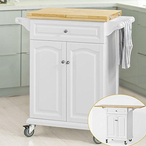 Haotian Kitchen Storage Trolley Kitchen Cabinet Cupboard Sideboard Kitchen Island with Rubber Wood &...