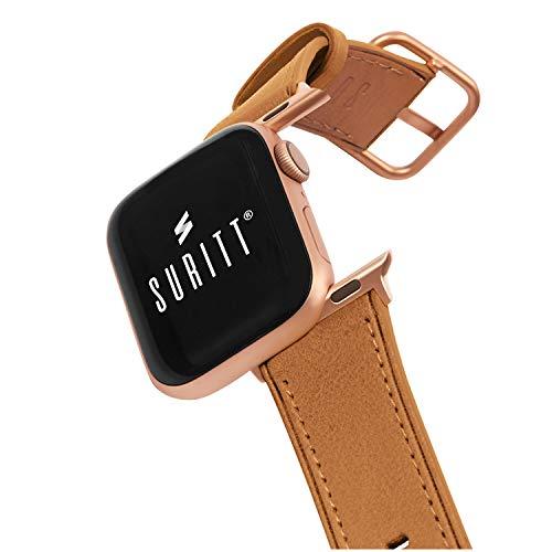 Suritt Cinturino per Apple Watch in Pelle Rio (6 Colori Disponibili). 3 Colori di Fibbia e Adattatore da Scegliere (Nero - Argento - Oro) (Series 6, SE, 5, 4 e 3). (42mm - 44mm, Saddle Brown/Gold)