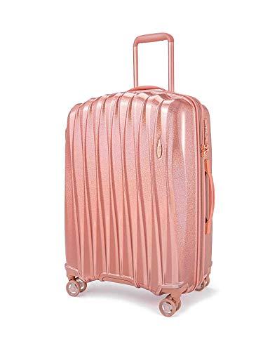 Verage Hartschalen-Koffer Glitter (L-28-76×51×31cm) 106-127 Liter erweiterbar, Rosegold, 4 Rollen S-PET Trolley, TSA-Schloss integriert