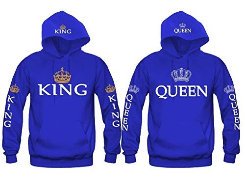 Pareja King & Queen Sudaderas con Capucha Manga Larga Encapuchado Jersey Pull-Over para Hombre y Mujer Pareja King Queen Sudaderas con Capucha Manga Larga