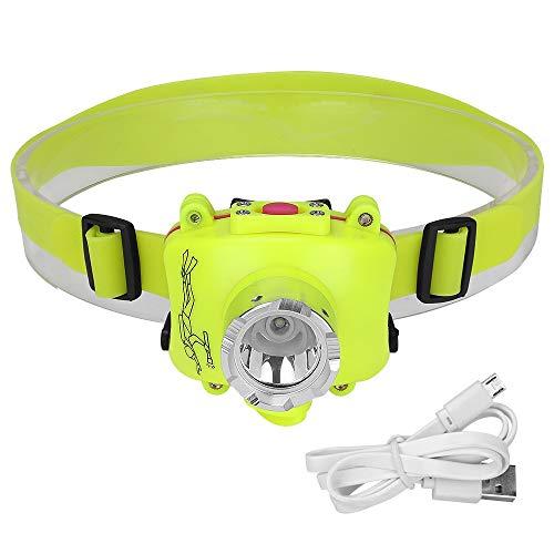 Linterna frontal LED portátil para buceo, luz de trabajo, luz impermeable, incluye batería de carga USB, linterna para la pesca nocturna
