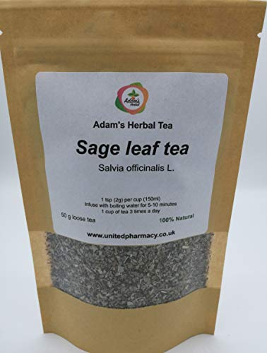 Sage Leaf Tea Premium Loose Herbal Tea 50 gr - 100% Natural Ingredient, by Adam's Herbal for Health and Wellness