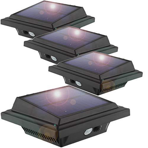 KEENZO LED Dachrinnenlampe, Solar Dachrinnenleuchte, 25 LEDs, 2 W, PIR-Sensor, Schwarz,Warmes Weiß Licht, 4er-Set
