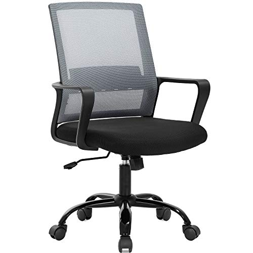 Home Office Chair Ergonomic Desk Chair Swivel Rolling Computer Chair Executive Lumbar Support Task Mesh Chair Adjustable Stool for Women Men,Grey