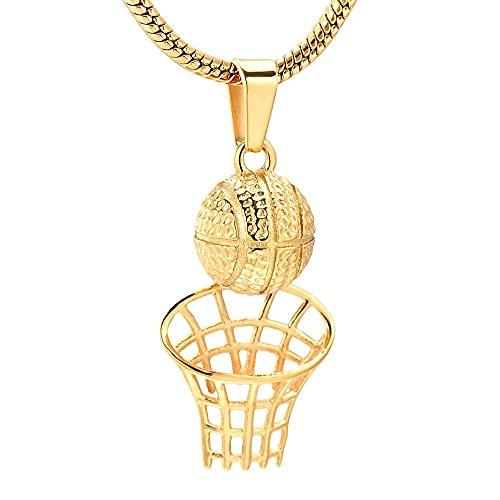 Basketball Player's Loving Necklace Gold Ball Locket Memorial Urn Keepsake Jewelry Stainless Steel
