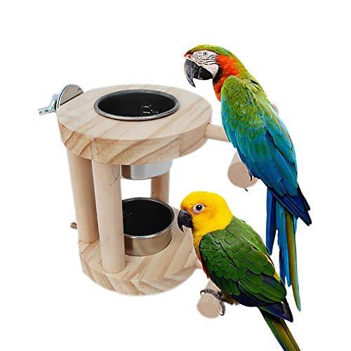 WAZA Comedero para Pájaros Alimentador Tazón para Beber de Alimentos de Acero Inoxidable de Doble Capa y Soporte de Madera para Mascotas Periquitos Aves
