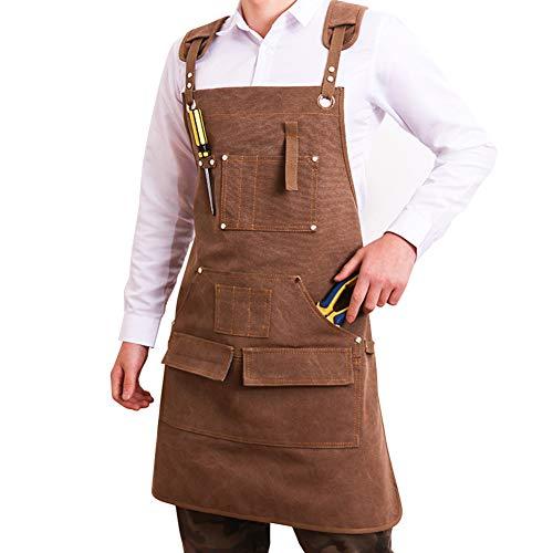 Delantal de herramientas para hombre, de lona encerada, para carpintero, de lona resistente, para carpintería, sala de carpintería, manualidades, taller, cocina