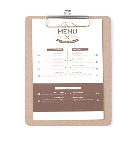HENDI Klemmbrett, Clipboard, für Speisekarten oder Tageskarte, A5, mit Metallclip und Aufhängeose, 185x245mm, Holz