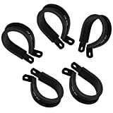 ID 9.5mm (3/8 inch) Rubber Cushioned Aluminum P Clamp, Lined Hose Clip for AN6 Hose Tube Pipe Cable Wire, Black, Pack of 5