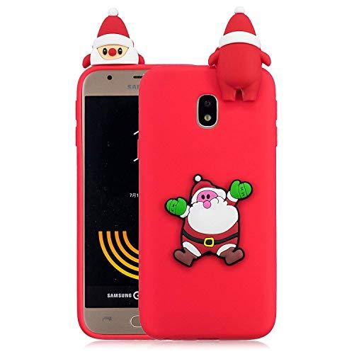 Funda para Samsung Galaxy J7 (2017) / J730, 3D Cute Cartoon Cover TPU Silicona Ligera Delgada Flexible Colores Caramelo Anti-Arañazos Impermeable Bumper Elástico Shell - Santa Claus