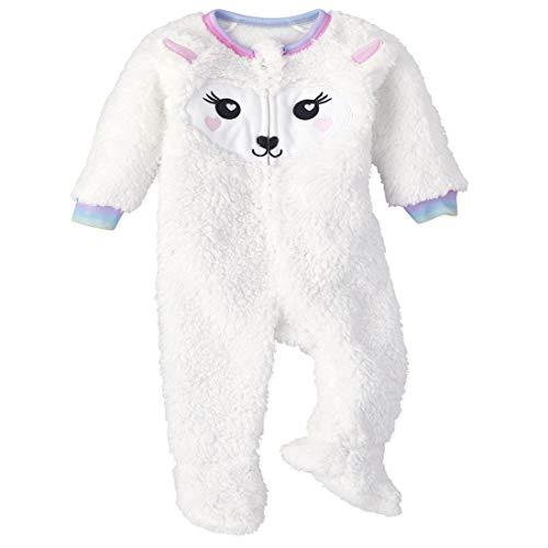 The Children's Place Baby-Mädchen and Toddler Llama Fleece One Piece Pajamas Kleinkind, Schlafsack, Simply White, 5 Jahre