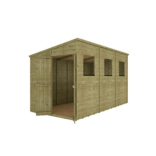 Project Timber 12 x 6 Pressure Treated Hobbyist Extra Tall Pent Windowed Garden Shed Doors in Gable with OSB Floor 3.65m x 1.82m